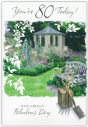 GREETING CARDS,Age 80 Male 12's Garden/River Scene