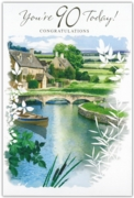 GREETING CARDS,Age 90 Male 12's Garden/River Scene