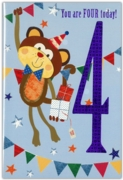 GREETING CARDS,Age 4 Male 12's Tiger/Monkey