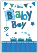 GREETING CARDS,Baby Boy 6's Blue Train