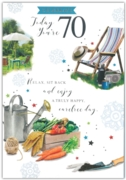 GREETING CARDS,Age 70 Male 6's Enjoying the Garden