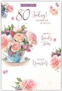 GREETING CARDS,Age 80 Female 6's Floral Teacup