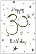 GREETING CARDS,Age 30 Unisex 6's Stars & Hearts