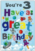 GREETING CARDS,Age 3 Male 12's Animals/Space & Robots