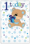 GREETING CARDS,Age 1 Male 6's Teddy Bear with Present