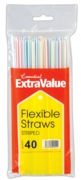 DRINKING STRAWS,Striped, Plastic, Flexi 40's
