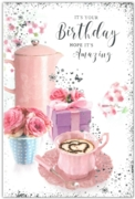 GREETING CARDS,Birthday 6's Coffee & Present Floral