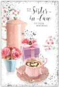 GREETING CARDS,Sister in Law 6's Coffee & Present Floral