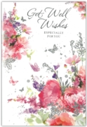 GREETING CARDS,Get Well 6's Glitter Floral