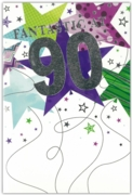 GREETING CARDS,Age 90 Male 6's Multicoloured Stars