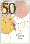 GREETING CARDS,Age 50 Female 6's Balloons