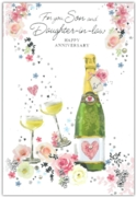 GREETING CARDS,Son & Daughter in Law 6's Floral Champagne