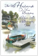 GREETING CARDS,Husband Birthday 6's River Scene
