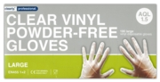 GLOVES,Clear Vinyl Powder Free Large In Box of 100's