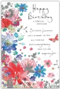 GREETING CARDS,Birthday 6's Glitter Floral