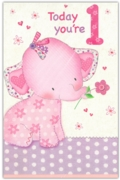 GREETING CARDS,Age 1 Female 6's Pink Elephant