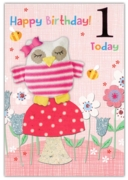 GREETING CARDS,Age 1 Female 6's Cat & Butterflies