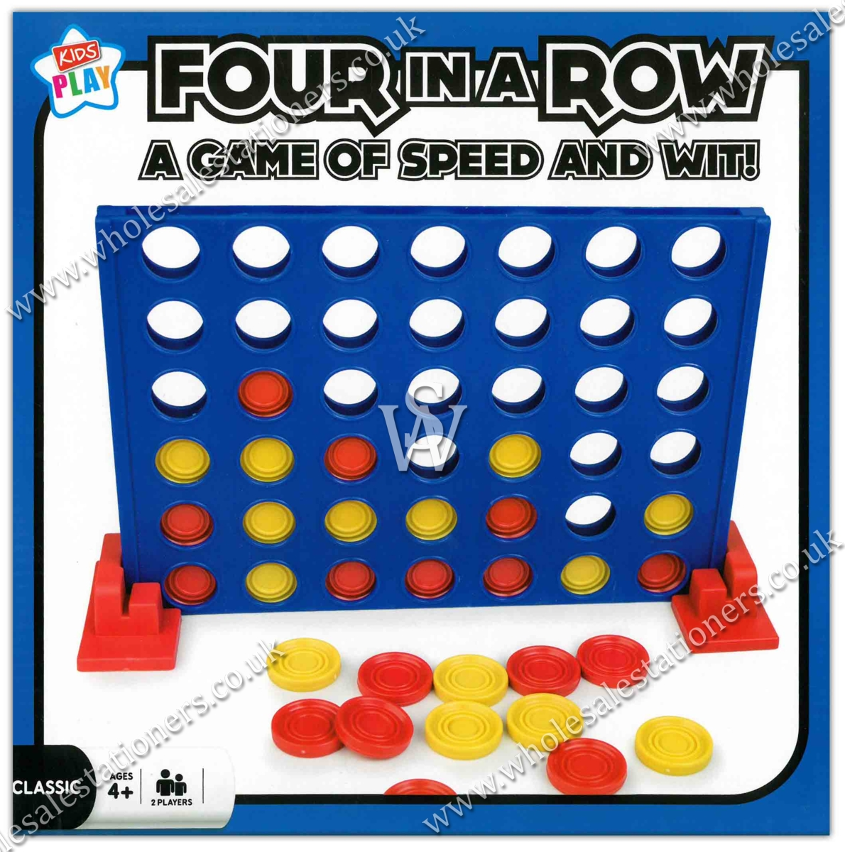FOUR IN A ROW, A Game of Speed & Wit, 2 Players, Age 4+ Bxd.