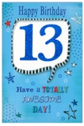 GREETING CARDS,Age 13 Male 6's Holographic Text