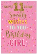GREETING CARDS,Age 11 Female 6's Holographic Text