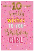 GREETING CARDS,Age 10 Female 6's Holographic Text