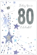 GREETING CARDS,Age 80 Male 6's Stars