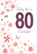 GREETING CARDS,Age 80 Female 6's Floral