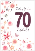GREETING CARDS,Age 70 Female 6's Floral