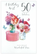 GREETING CARDS,Age 50 Female 12's Floral Vases