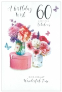 GREETING CARDS,Age 60 Female 12's Floral Vases