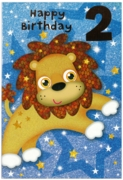 GREETING CARDS,Age 2 Male 12's Dinosaur/Lion