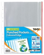 POLY POCKETS,A4 25's Recycled 45 micron (Tiger)
