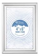 PHOTO FRAME,4x6 Flat Silver Frame Glass Insert