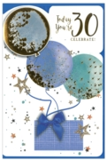 GREETING CARDS,Age 30 Male 6's Balloons & Presents