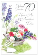 GREETING CARDS,Age 70 Female 6's Floral Gardening