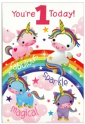 GREETING CARDS,Age 1 Female 12's Unicorns/Animals