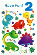 GREETING CARDS,Age 2 Male 12's Dinosaurs/Jungle Animals