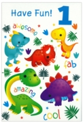 GREETING CARDS,Age 1 Male 12's Dinosaurs/Jungle Animals