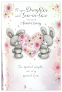 GREETING CARDS,Daughter & Son in Law 6's Bunnies & Hearts