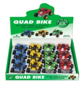 QUAD BIKE, Pull Back Power, Asst Colours, 6cm CDU