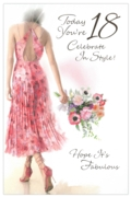 GREETING CARDS,Age 18 Female 6's Floral Pink Dress