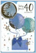 GREETING CARDS,Age 40 Male 6's Balloons & Presents