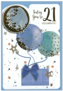 GREETING CARDS,Age 21 Male 6's Balloons & Presents