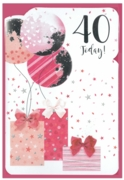 GREETING CARDS,Age 40 Female 6's Balloons & Presents