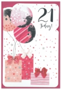 GREETING CARDS,Age 21 Female 6's Balloons & Presents