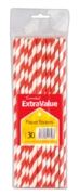 DRINKING STRAWS,Striped, Paper, Red & White 30's H/pk