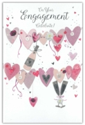 GREETING CARDS,Engagement 6's Hearts Bunting