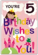GREETING CARDS,Age 5 Female 6's Fairy, Castle & Frog