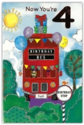 GREETING CARDS,Age 4 Male 6's Birthday Bus