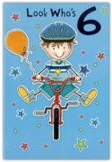 GREETING CARDS,Age 6 Male 6's Bicycle & Stars